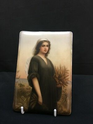 Breath-Taking Antique Porcelain Plaque of Young Beautiful Girl Signed by Wagner