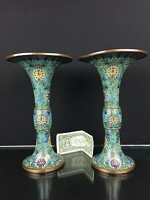 Gorgeous Pair of Antique 19th C. Late Qing Dynasty Chinese Cloisonné Gu Vases