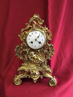 Real Antique 19th Century French Bronze Mantle Clock