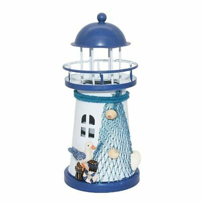 Deco Mediterranean Style Lighthouse Iron Candle LED Light House Decoration M5F3