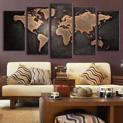 Framed Retro World Maps Vintage Canvas Prints Painting Wall Art Home Decor 5PCS