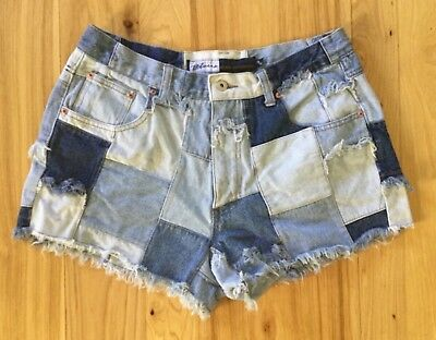Vtg 90s EXPRESS bleus patchwork denim cut off high waist jean shorts sz 13/14