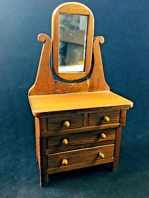 Vintage Dollhouse or Doll Miniature Dresser w. Tilting Mirror Signed & Dated
