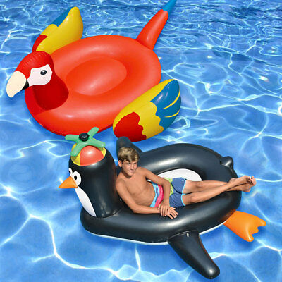 Swimline Giant Penguin & Parrot Animal Bird Ride On Swimming Pool Float - Combo