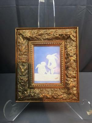 VntG Ca 1940's Limoges Cherubs Framed Porcelain Tile