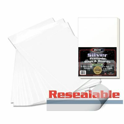 1 Case 500 BCW Premade Silver Age Resealable Poly Bags + Acid Free Backer Boards