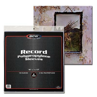 300x BCW 33 1/3 RPM 2 Mil Outer Sleeves Archival Poly Bags for Record Albums