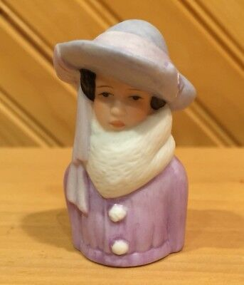 1983 Avon Porcelain Figural Woman Circa 1923 Sewing Thimble Purple Outfit Hat