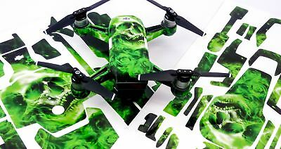 Skull Green Drone Decal Skin Wrap Stickers for DJI Spark, Mavic Air, Mavic Pro