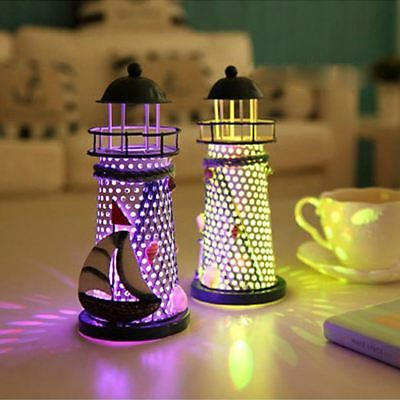 Deco Mediterranean Style Lighthouse Iron Candle LED Light House Decoration L5W3