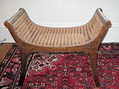 Antique solid oak wood and cane footstool- Regency style