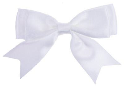 White Large 8.5cm / 25mm Satin Ribbon Ready Made Craft Double Bows - Pack of 5