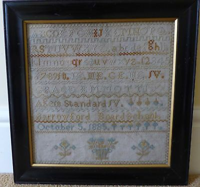 Victorian Needlework Sampler Tapestry Embroidery Grace Emmott 1885