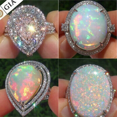 Sparkling 925 Silver Opal CZ Women Wedding Engagement Party Ring Jewelry Sz 6-10