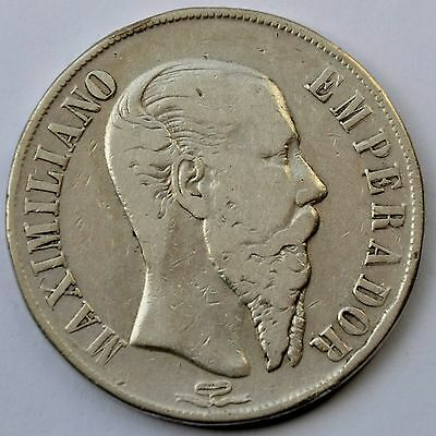 Mexico Empire of Maximilian 1866 Mo 1 Peso Silver Crown