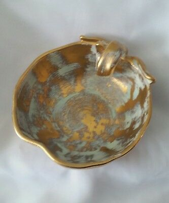 Vintage Stangl Hand Painted Antique Gold Apple Candy Dish #3785