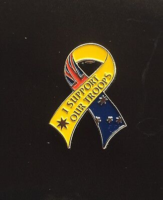 I SUPPORT OUR TROOPS RIBBON BADGE - ANZAC Day - Remembrance Day Wear With Pride
