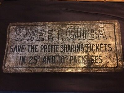 """1910's ANTIQUE SWEET CUBA TOBACCO SIGN-18-1/4"""" x 8-1/4"""" Rare Authentic Sign"""