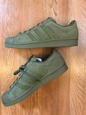 ADIDAS SUPERSTAR OLIVE Green Suede Sneakers Shoes Men's Size 8.5