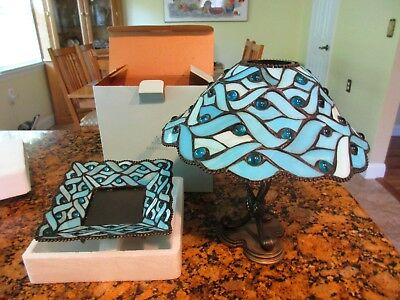 Aqua Blue Partylite Spring Water Stained Glass Candle Holder Pillar Lamp Set