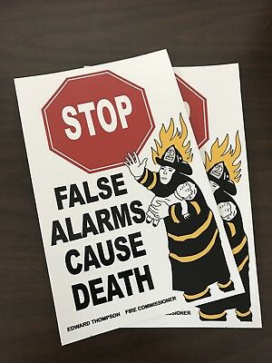 "FDNY Fire Alarm Box Decals ""False Alarms Cause Death"""