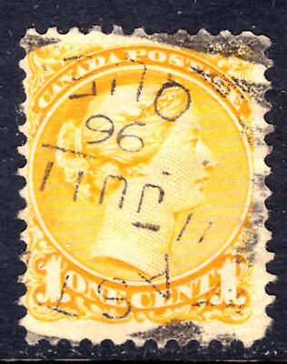 CANADA #35 1c YELLOW, 1870-93 SQ, F, EASTMAN, ONT., SQUARED CIRCLE