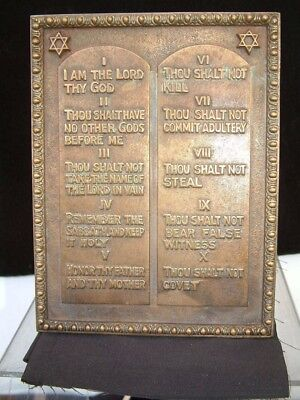 Very Rare Antique Ten Commandments In Old English On Solid Bronze Plaque Judaica