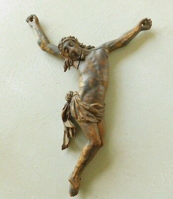 French Corpus Christi 17th Century Carved Wood Gilded Body Crucified Christ