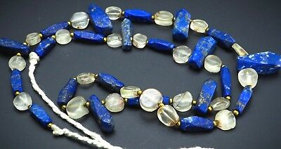 Ancient Clear Carved crystal Ancient Bactrian Lapis Axe Shape Bead Necklace