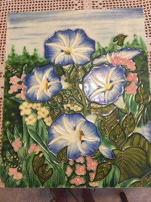 """Antique Tile Plaque Morning Glories Early 1900S 13 X 16"""""""