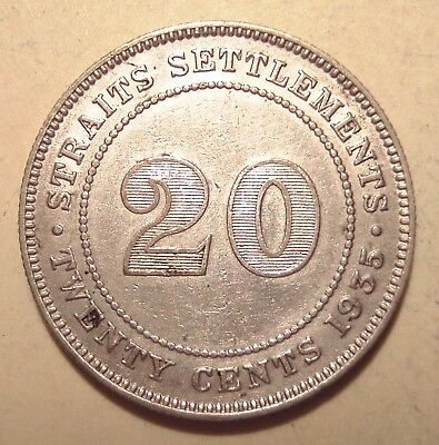 Straits Settlements ★★★ 20 Cents 1935 ★★★ 185  Silber