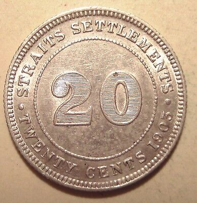 Straits Settlements ★★★ 20 Cents 1903 ★★★ 186 Silber