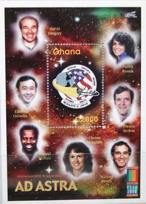 GHANA 2000 Block 399 S/S 2198 World Stamps EXPO Astronauts Challenger Patch MNH