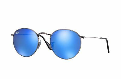 325e8caf5 New Genuine Ray Ban Sunglasses RB3447 029/17 50mm Round Metal Blue Mirror
