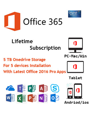 Microsoft Office 365 Plus 2016 Pro Account Lifetime License With 5 Tb Onedrive