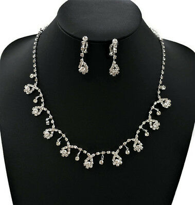 Cheap Necklace Earrings Ring Jewellery Set Crystal Rhinestone Silver Colour
