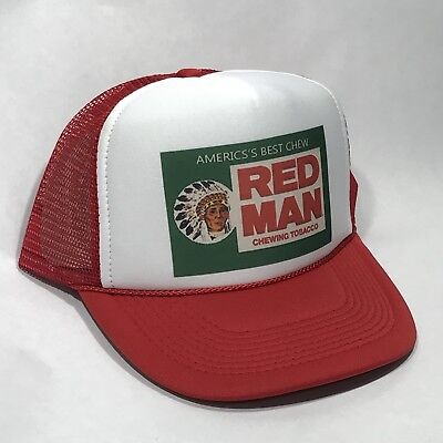 e4b8788f Red Man Tobacco Trucker Hat Old Chew Pouch Logo! Vintage Snapback Cap! Red