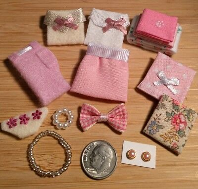 New Dollhouse Miniature Folded Clothes & Accessories Huge Lot SALE Today $6!!