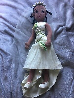 DISNEY STORE PRINCESS Tiana Wedding Dress Soft Toy Doll - Princess ...