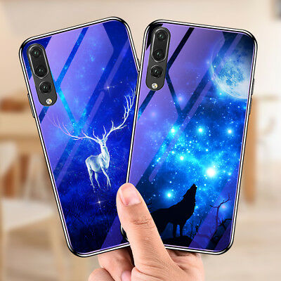 For Huawei P20 Pro / Lite Tempered Glass Back Case Soft Bumper Hybrid Cover Skin