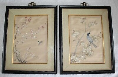 Antique Chinese Silk Embroidery Textile Pair - Cherry blossoms & birds - Signed