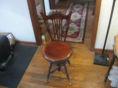 Antique Victorian High Back Piano Vanity Stool Chair With Glass Ball Brass Claw