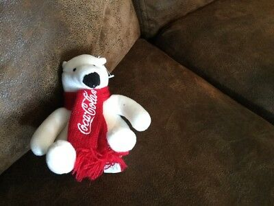 COCA-COLA Plush Polar Bear Scarf Embroidery Stuffed toy Collectible Coke New