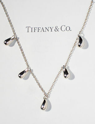 Authentic Tiffany & Co. Elsa Peretti 5 Teardrop Sterling Silver Necklace 16""