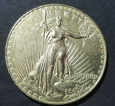 1907 Walking Liberty Inch  $20 Dollar Gold Piece Medallion Paperweight Coaster