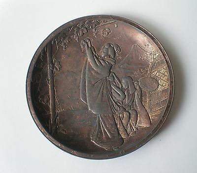 Antique Japanese Meiji Period Copper Clad Spelter Plate with Geisha