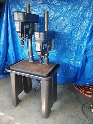 Rockwell Delta 15-665 Drill Press 2 gang dual head machinist lathe milling two