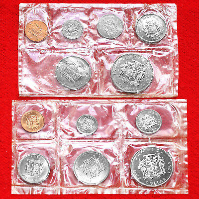 1969 Coins Of Jamaica (6 Coin) Mint Sets (2 Sets) Mylar Sealed Uncirculated