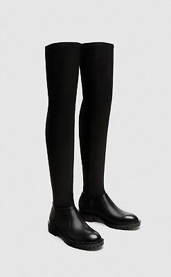 43aece1e7d2 ZARA FW 2017 Faux Leather Flat Over the Knee Boots - Black