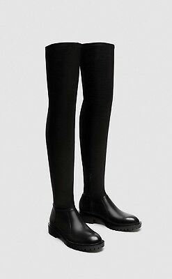 849419732b2 ZARA FW 2017 Faux Leather Flat Over the Knee Boots - Black